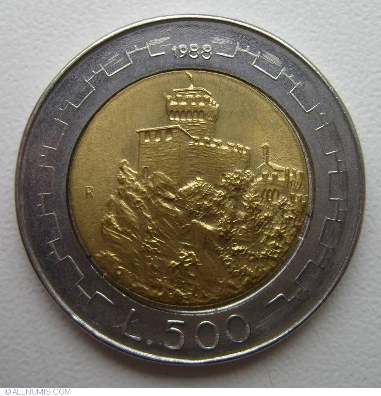 San Marino 500 lire 1988 km#226 BiMetallic UNC
