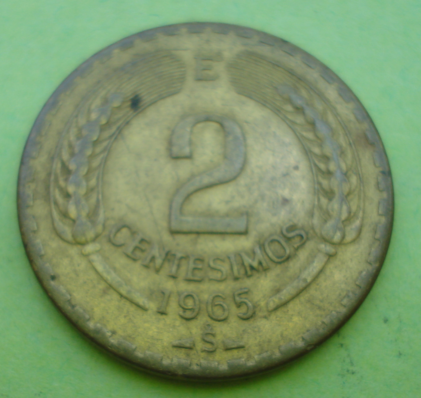 2 Centesimos 1965 Republic 1961 1970 Chile Coin 39267