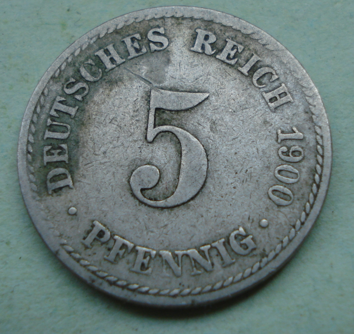 1900 A 5 Pfennig Old Germany Coin Circulated