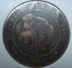Image #2 of 5 centimes 1884 A