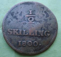 ½ Skilling Riksgälds 1800
