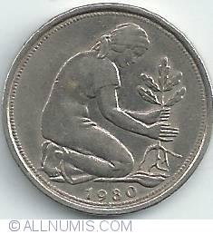 Imaginea #2 a 50 Pfennig 1980 F