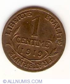 Image #1 of 1 Centime 1919