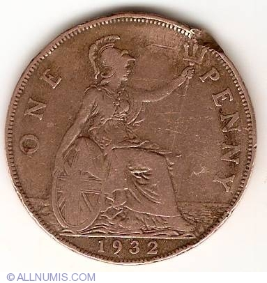 Penny 1932 George V 1910 1936 Great Britain Coin 13333