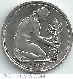Imaginea #2 a 50 Pfennig 1992 G