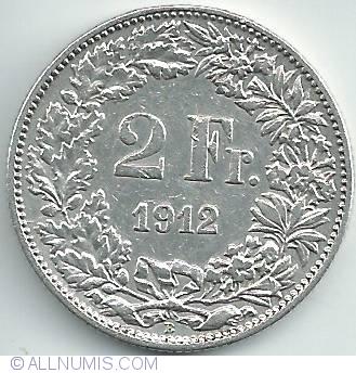 1912 B Swiss 2 Franc Coin