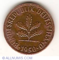 Image #2 of 2 Pfennig 1950 J
