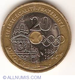 Image #1 of 20 Francs 1994 - Founder of  Modern Day Olympics - Pierre de Coubertin