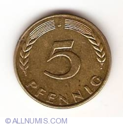 Image #1 of 5 Pfennig 1966 J
