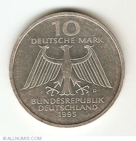 Ten German Mark 50th Anniversary Peace and Reconciliation 1995 Silver Coin