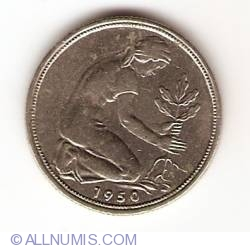 Image #2 of 50 Pfennig 1950 J