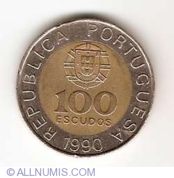 Image #1 of 100 Escudos 1990 - 5 segments milled