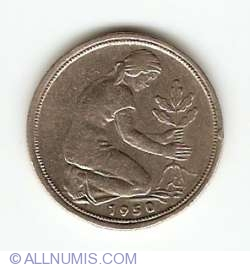 Image #2 of 50 Pfennig 1950 G