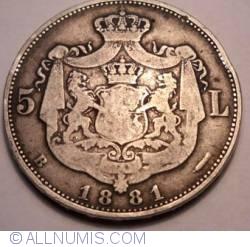 Imaginea #1 a 5 Lei 1881 - Muchia cu 6 stele, a 5-a pe o raza