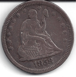 Image #1 of Sitting Liberty Quarter 1858