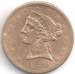 Image #1 of Gold Half Eagle 1880 S