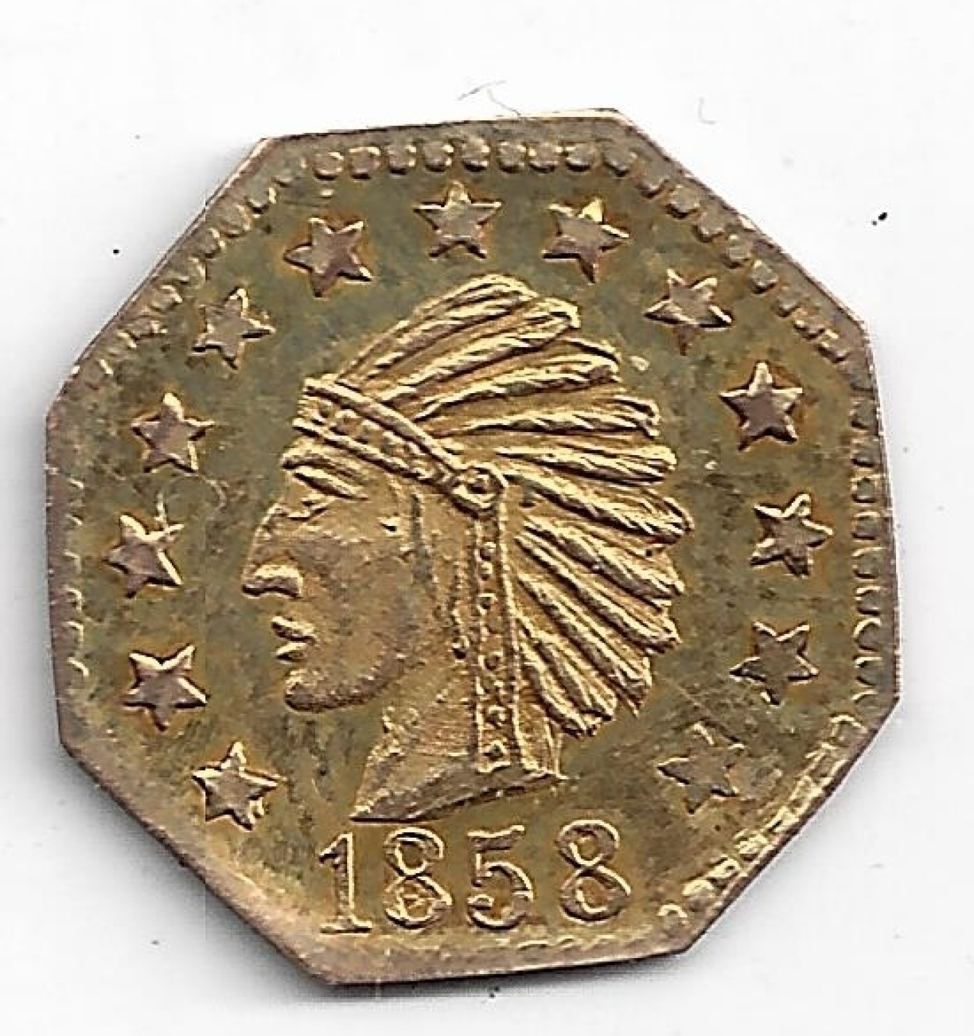 Counterfeit 1 4 California Gold 1858 Counterfeits United States Of America Coin 36378