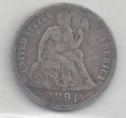 Image #1 of Seated Liberty Dime 1891