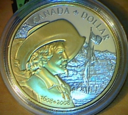 Image #2 of 1 Dollar 2008 - 400th Anniversary of Quebec City - Gold Plated