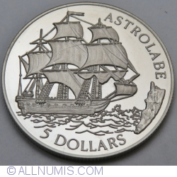 Image #2 of 5 Dollars 1992 - Astrolabe