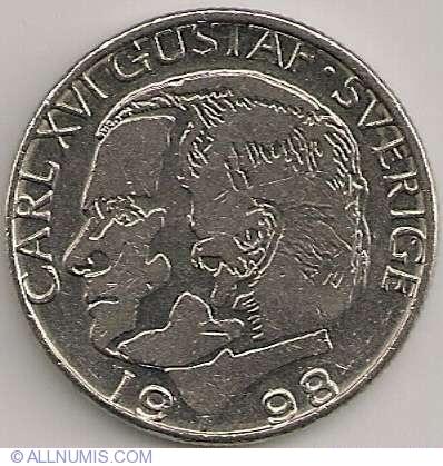 1 Krona 1998 Carl Xvi Gustaf 1973 Present Sweden Coin 4725