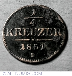 Image #1 of 1/4 Kreuzer 1851 B