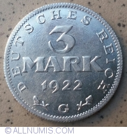 Image #1 of 3 Mark 1922 G - 3rd Anniversary Weimar Constitution