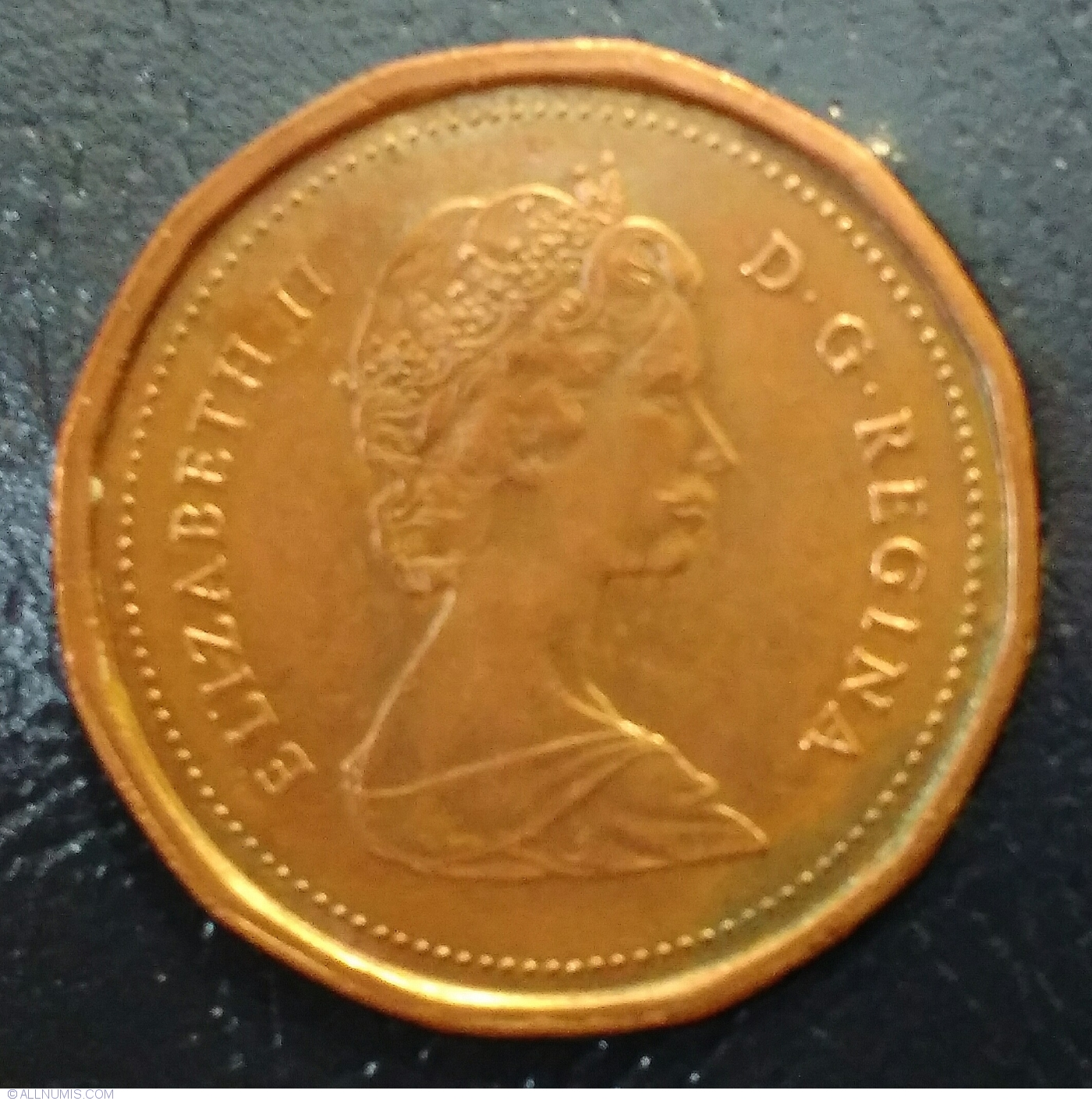 1 Cent 1985 Pointed 5 Elizabeth Ii 1953 Present Canada Coin 37832