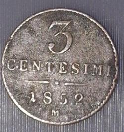 Imaginea #1 a 3 Centesimi 1852 M