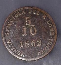 Image #1 of 5/10 Soldo 1862 V