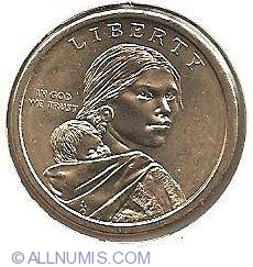 Image #1 of Sacagawea Dollar 2009 P - Three Sisters Agriculture - Native American woman planting seeds