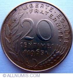 Image #1 of 20 Centimes 1965