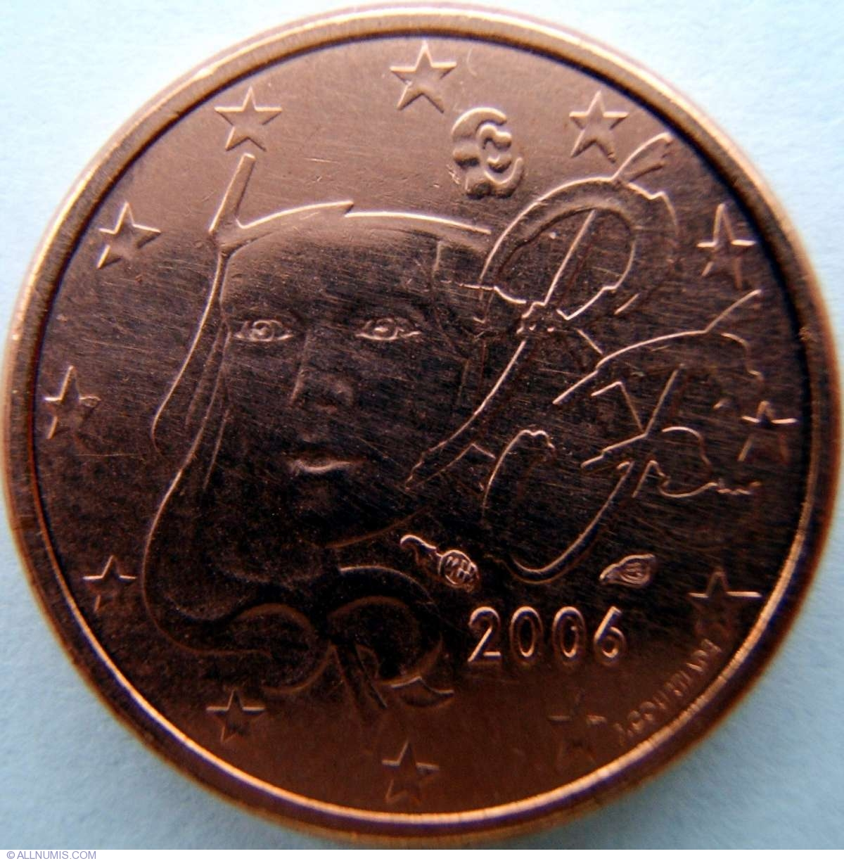 coin of 1 euro cent 2006 from france id 2231. Black Bedroom Furniture Sets. Home Design Ideas