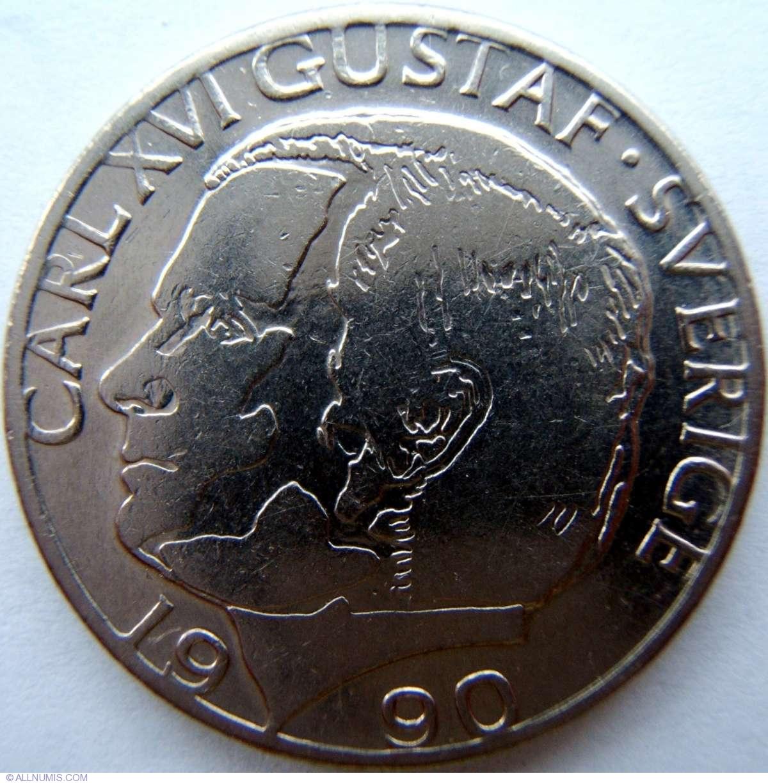 1 Krona 1990, Carl XVI Gustaf (1973-present) - Sweden ...