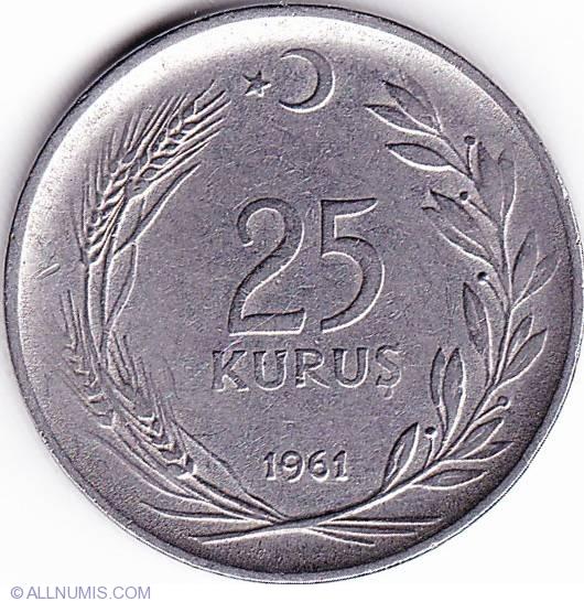 Turkey Kurus  1961  BU lot of 25 BU coins