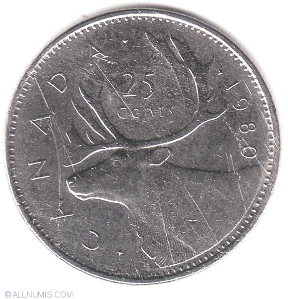 25 Cents 1980 Elizabeth Ii 1953 Present Canada Coin 6556