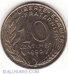 Image #1 of 10 Centimes 1990