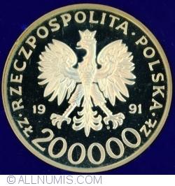 """Imaginea #1 a 200 000 Złotych 1991 - Gen. Lepold Okulicki """"Niedźwiadek"""""""