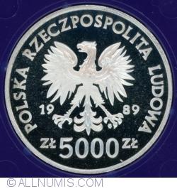 Imaginea #2 a 5000 Złotych 1989 - Władysław Jagiełło