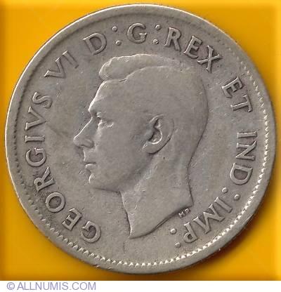25 Cents 1938 George Vi 1937 1952 Canada Coin 17184