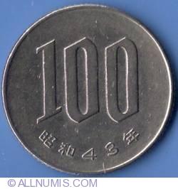 Image #2 of 100 Yen 1968 (Yr. 43)
