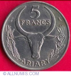 Image #1 of 5 Francs (Ariary) 1972