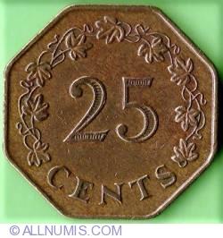 Imaginea #2 a 25 Centi 1975 - Aniversarea de 1 an al Republicii Malta