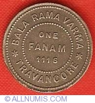 Image #2 of 1 Fanam 1940 (ME 1116)