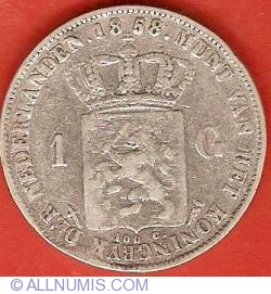 Image #2 of 1 Gulden (100 Cents) 1858