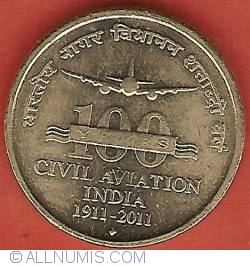 Image #2 of 5 Rupees 2011 (B) - 100 Years of Civil Aviation