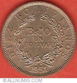 Imaginea #2 a 10 Bolivianos (1 Bolivar) 1951