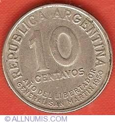 Image #1 of 10 Centavos 1950 - Year of Liberator de San Martin