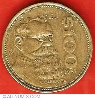 1987 mexican 100 peso coin