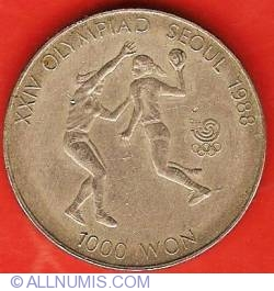 Image #2 of 1000 Won 1987 - 1988 Olympics - Handball